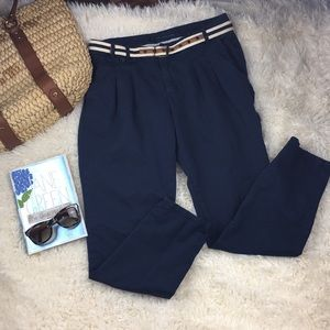 Zara Basic Navy Trousers with Belt